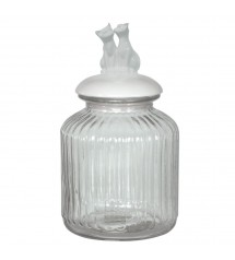 Glass Jar Cat White