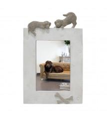 Picture Frame Dog Vertical Beige
